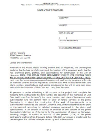 official construction bid proposal template