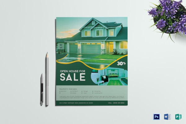 open house sale real estate flyer template