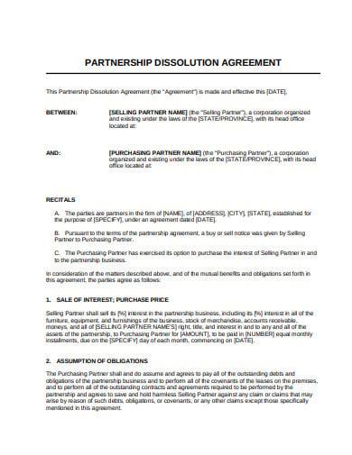 11 Dissolution Agreement Templates Google Docs Pages