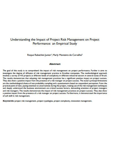 performance of project risk management