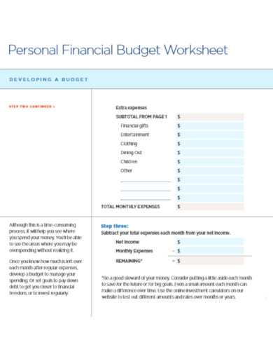 personal financial budget