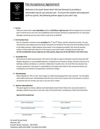 pet acceptance agreement template