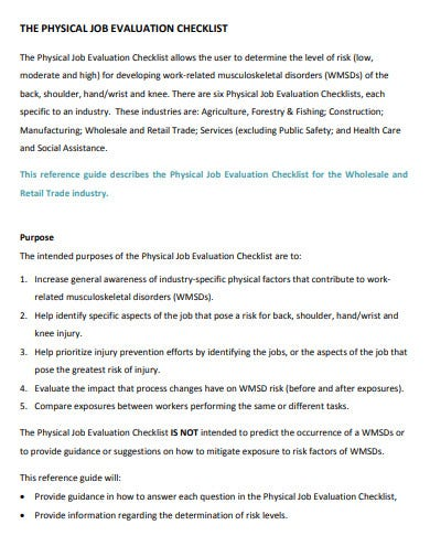 physical job evaluation checklist template