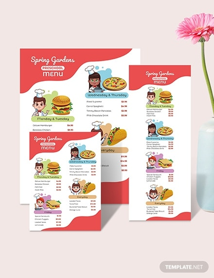 pre school menu download