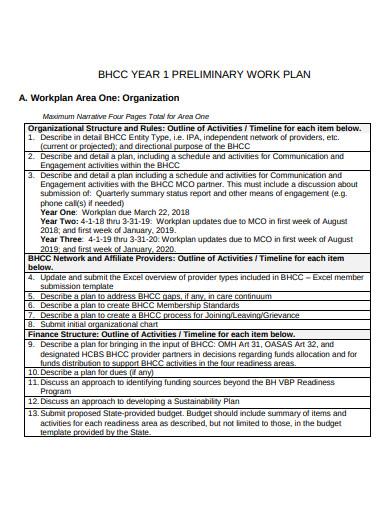 preliminary work plan template