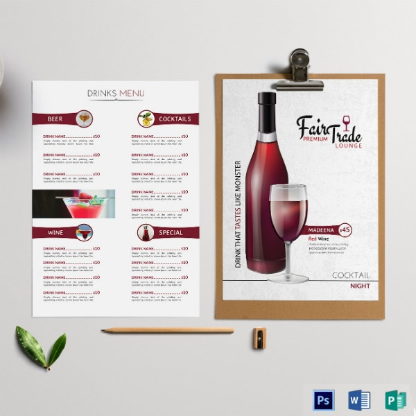 premium cocktail menu card sample