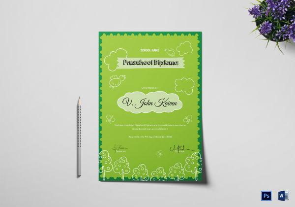 preschool award certificate