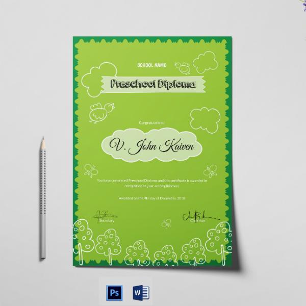 preschool award diploma certificate template