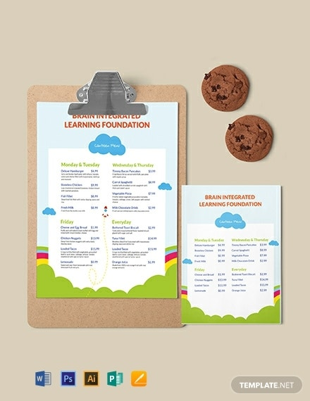 preschool canteen menu template