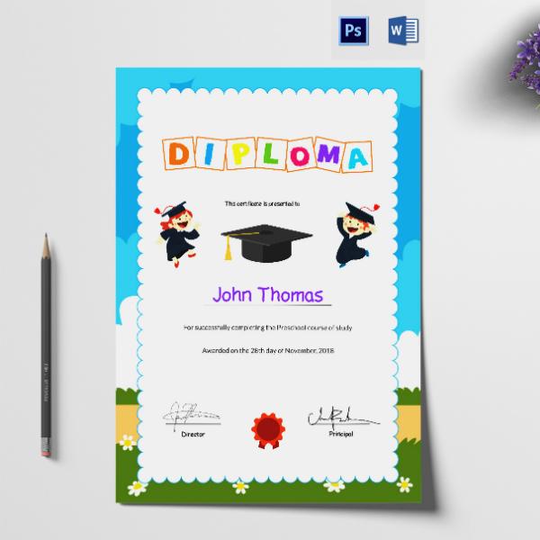 preschool graduation diploma certificate format