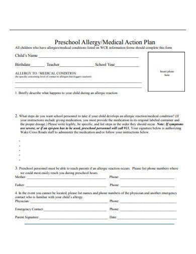 preschool medical action plan template