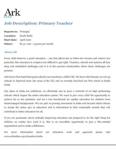 primary teacher job description