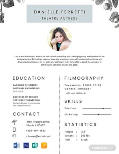 printable beginner acting resume template
