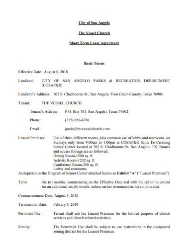 printable church lease agreement format