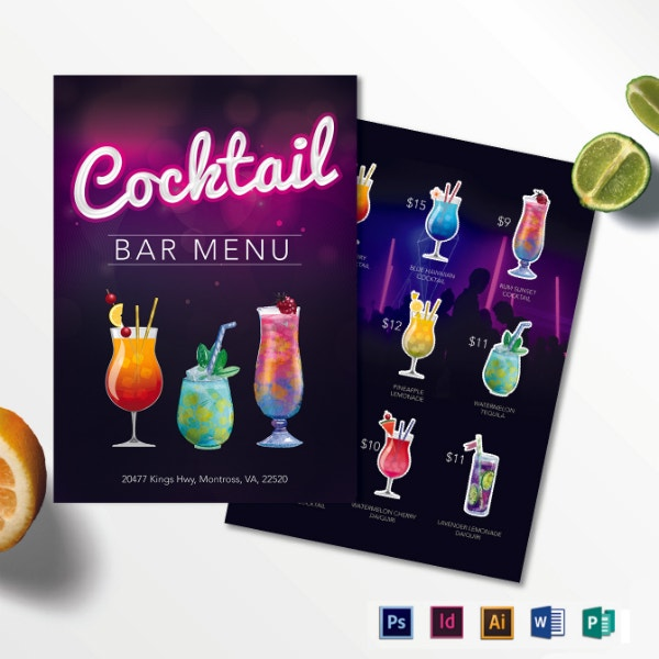 printable cocktail bar menu layout