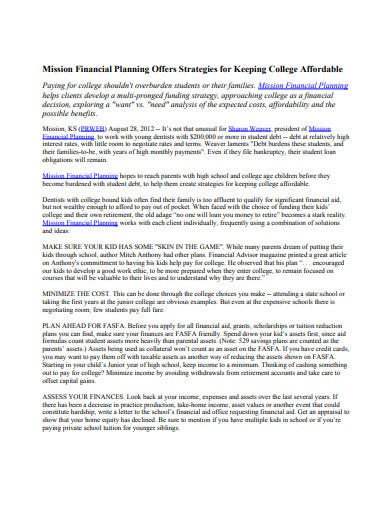 printable college financial plan example