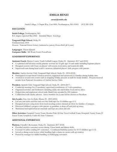 printable college student resume