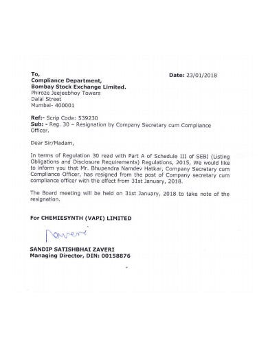 printable company secretary resignation