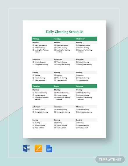 printable daily cleaning schedule planner template