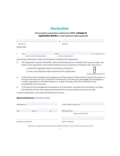 printable declaration agreement template