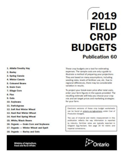 printable field crop budget template