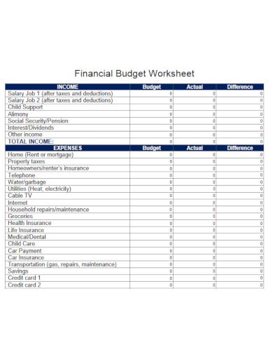 printable financial budget