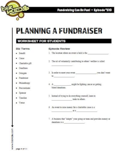 printable fundraiser worksheet template