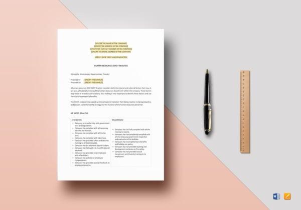 printable hr swot analysis template