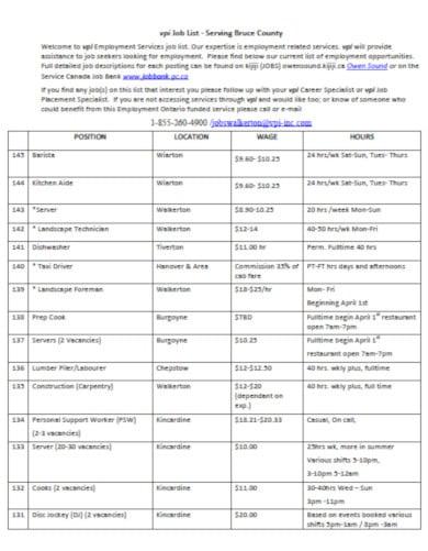 printable job list template