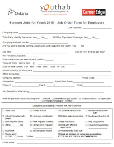 printable job order template