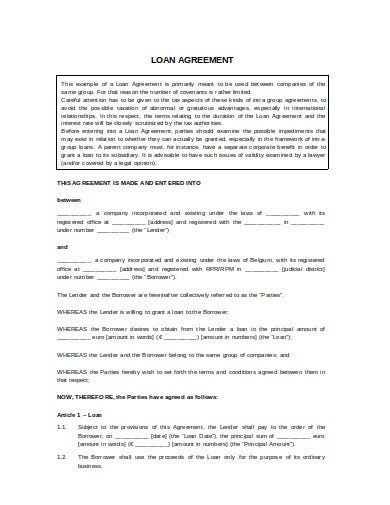 printable loan agreement template