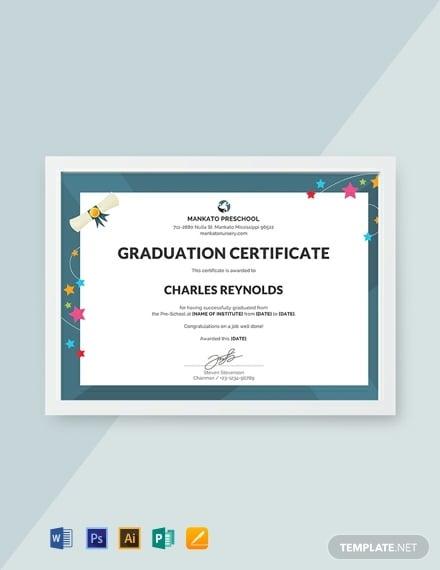 image about Printable Preschool Graduation Certificates titled 10+ Preschool Certification Templates - Illustrator, MS Phrase
