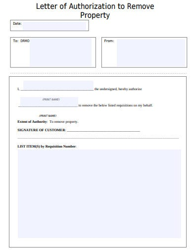 printable property authorization letter