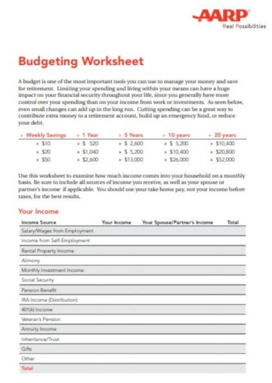 printable retirement budget template