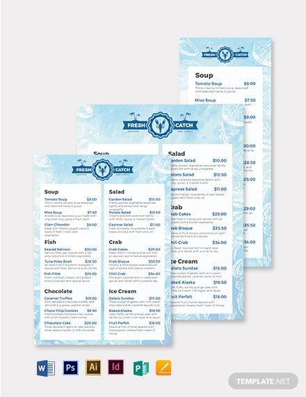 printable seafood menu template