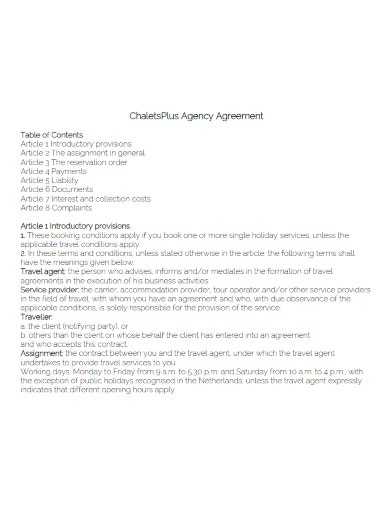 printable travel agency agreement