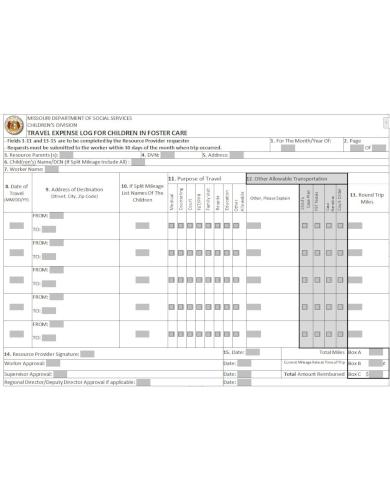 printable travel log sheet template