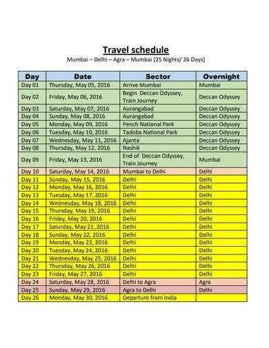 printable travel schedule template