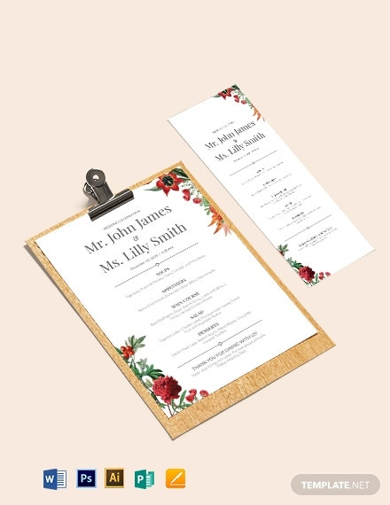 printable wedding menu template1