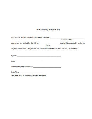 private pay agreement in example