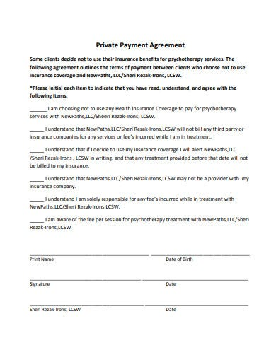private payment agreement