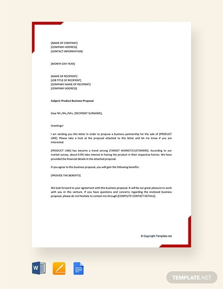 product business proposal letter template