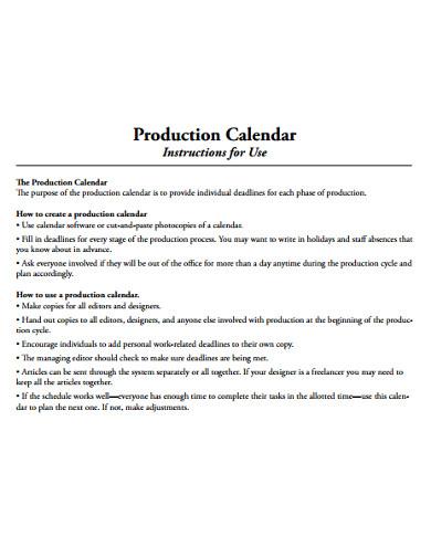 production calendar example