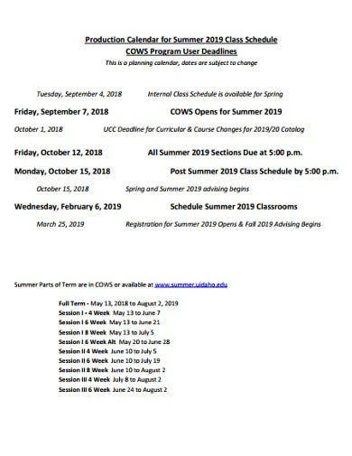 production calendar schedule program