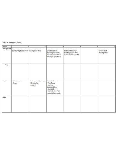 production calendar for management