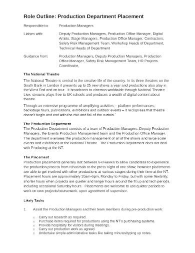production department outline in pdf