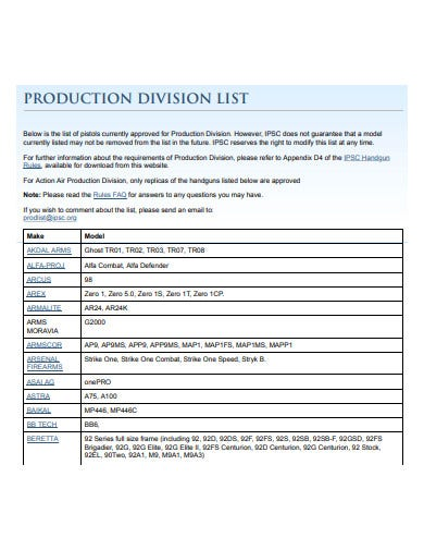 production division list example