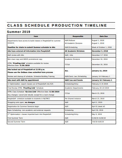 production schedule timeline