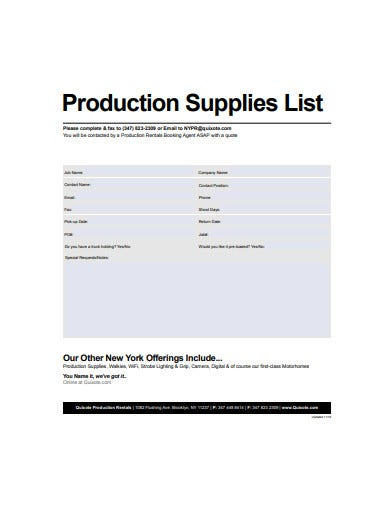 production supplies list template