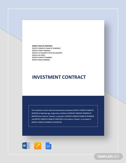 professional business investment contract template
